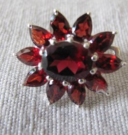 Earring silver with  garnet