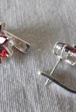 Oorbel dormeuse zilver met granaat