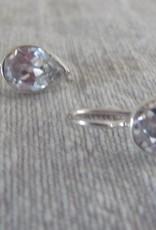 Zilver oorbel teardrop zircon