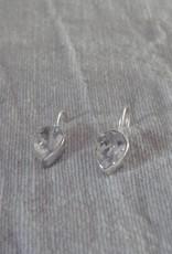 Silver earring teardrop zircon