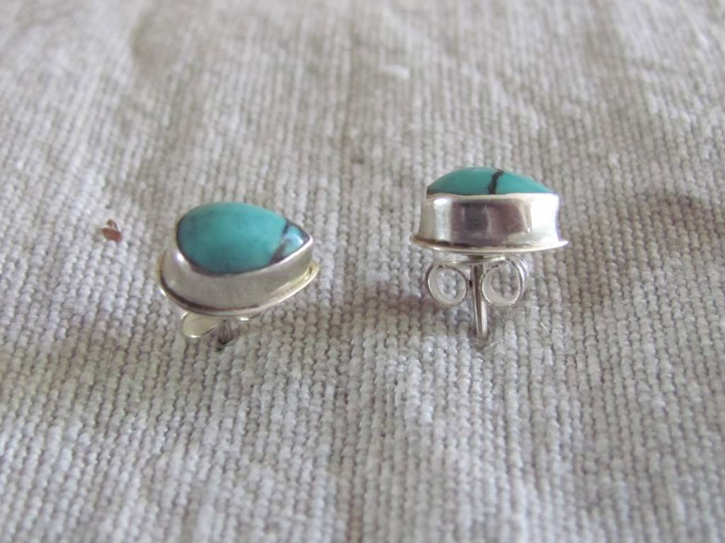 Silver earring  Iranian turquoise stud