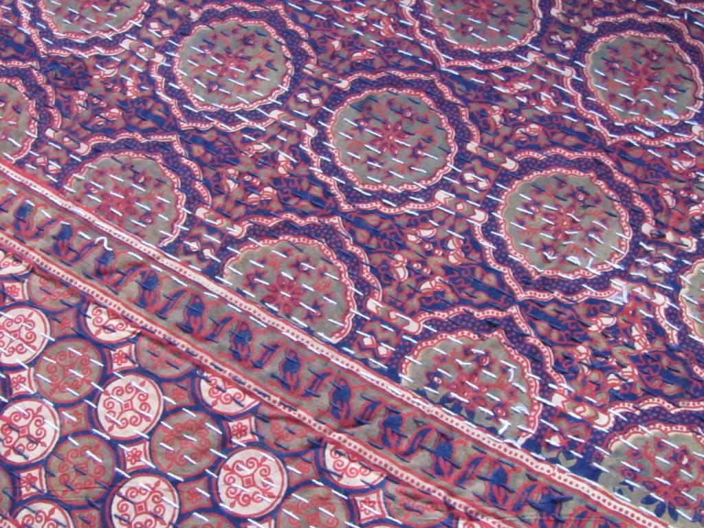 Bedspread  retro Ajrak counterpane  Indian  quilting Gudri double