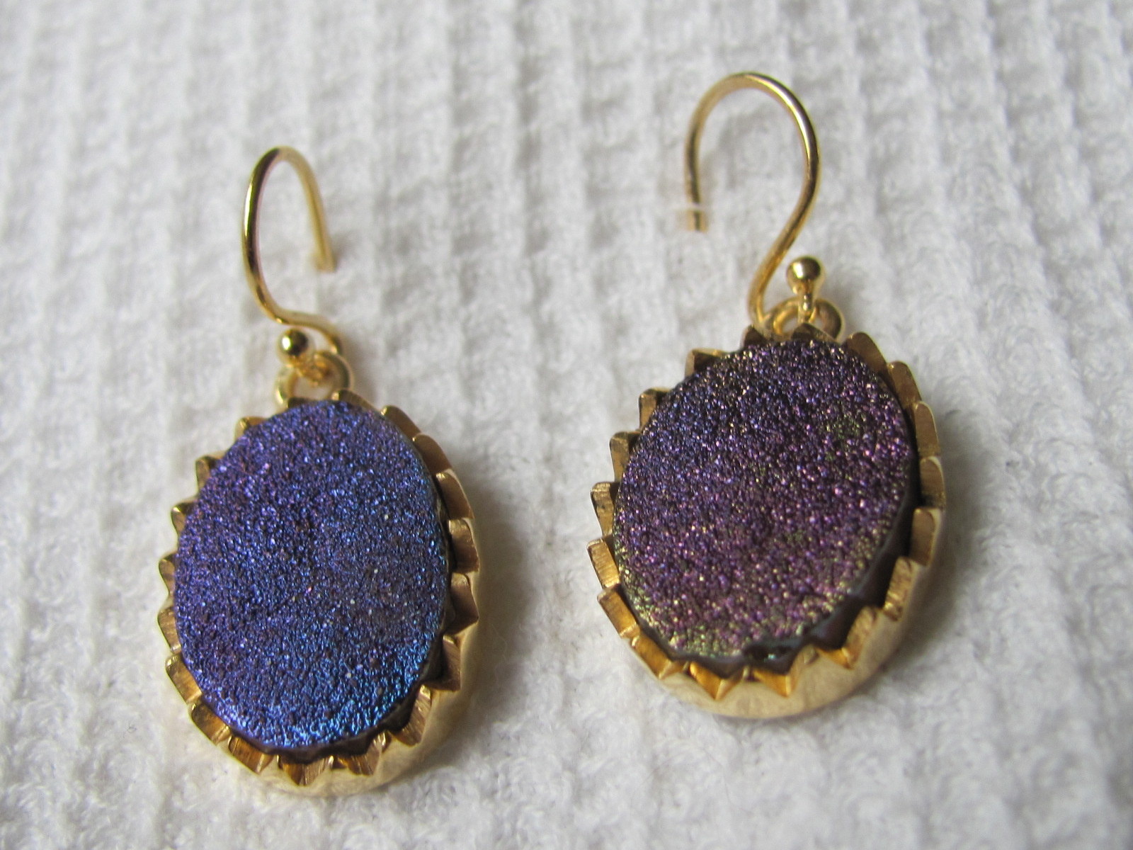 Earring  gold plating on silver with druz quarts