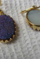 Oorbel goud plating op zilver met druzy kwarts