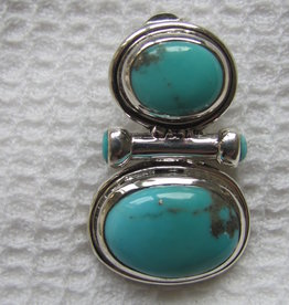 Oorbel zilver met  turkoois