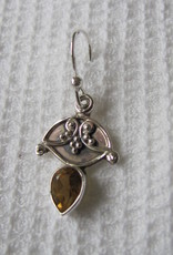 Earring silver with citrine