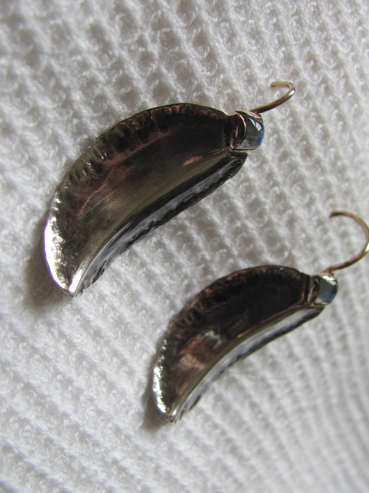 Earring artistic style with labradorite