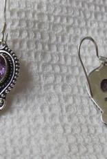 Oorbel goud  op zilver met mooie kwaliteit amethist