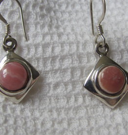 Earring silver with  rhodocrosite