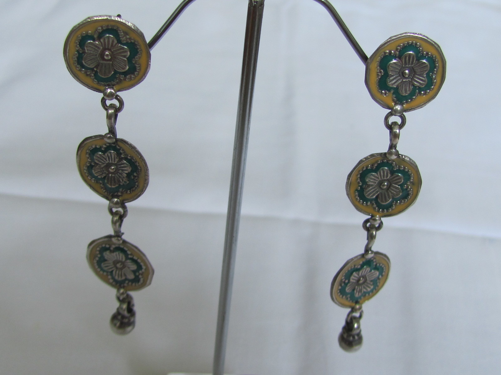 Silver long earring antique finnish
