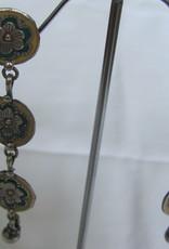 Zilver  lange oorbel antiek afgewerkt