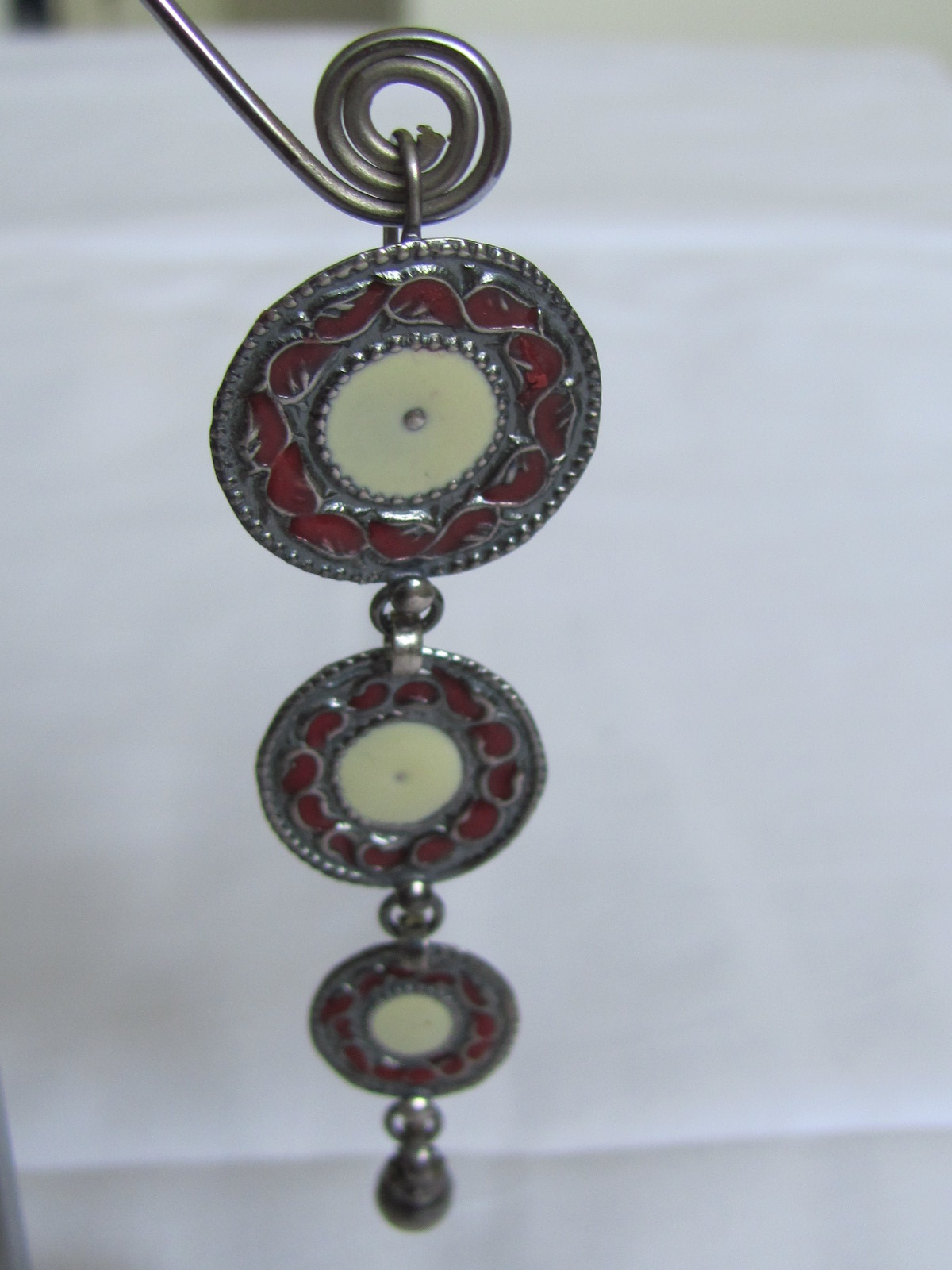 Silver long earring antique finnish