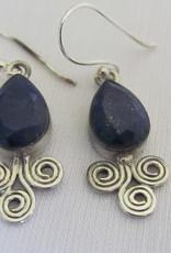 Oorbel zilver met   lapis lazuli steen