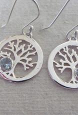 Oorbel  zilver levens boom  met  blauwe topas