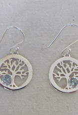Earring silver tree of life with blue topas