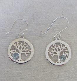Earring silver blue topas
