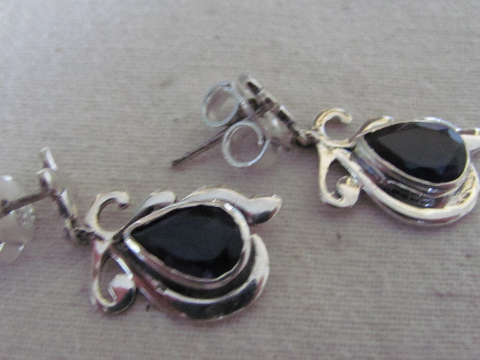 Earring silver stud with  iolite
