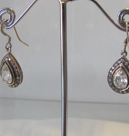 Earring silver with zircon