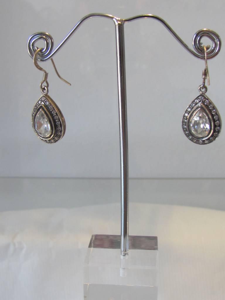Oorbel zilver met zirkoon
