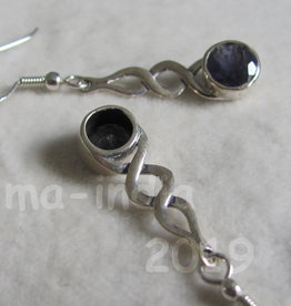 Earring  gold plating on silver  with iolite stone