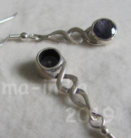 Oorbel zilver met  ioliet