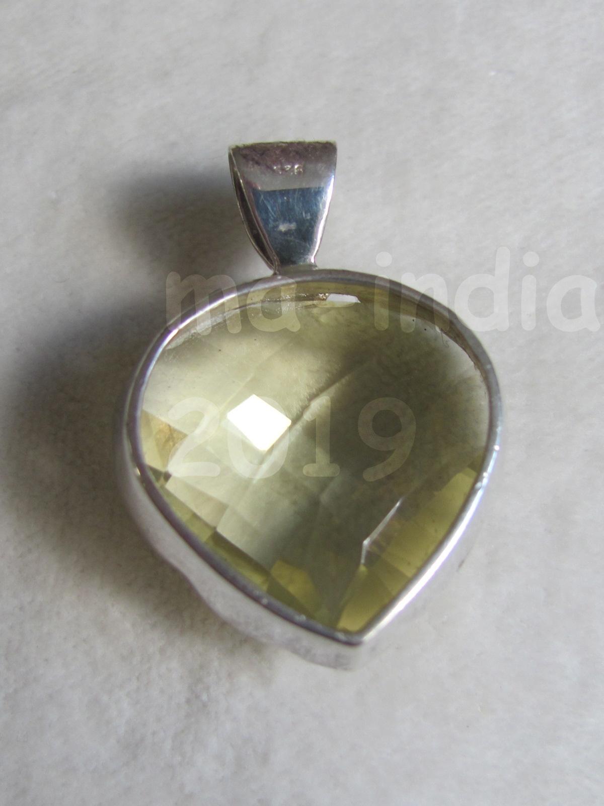 Pendant zilver facet geslepen lemon kwarts