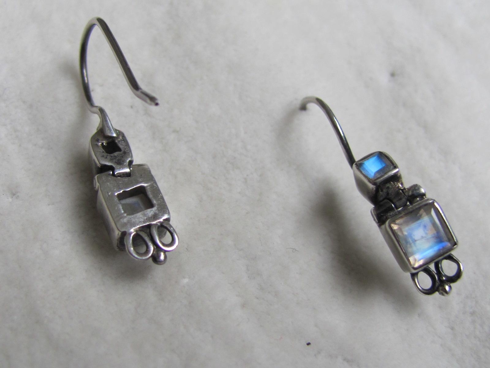 Earring   silver  dormeuse with rainbow moonstone