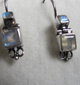 Earring   silver  dormeuse with rainbow moonstone