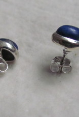 Earring silver stud with  lapis lazuli stone