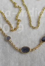 Halsketting goud op zilver met ioliet