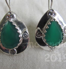 Earring dormeuse silver green onyx
