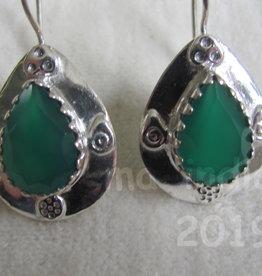 Oorbel  dormeuse zilver groene onyx