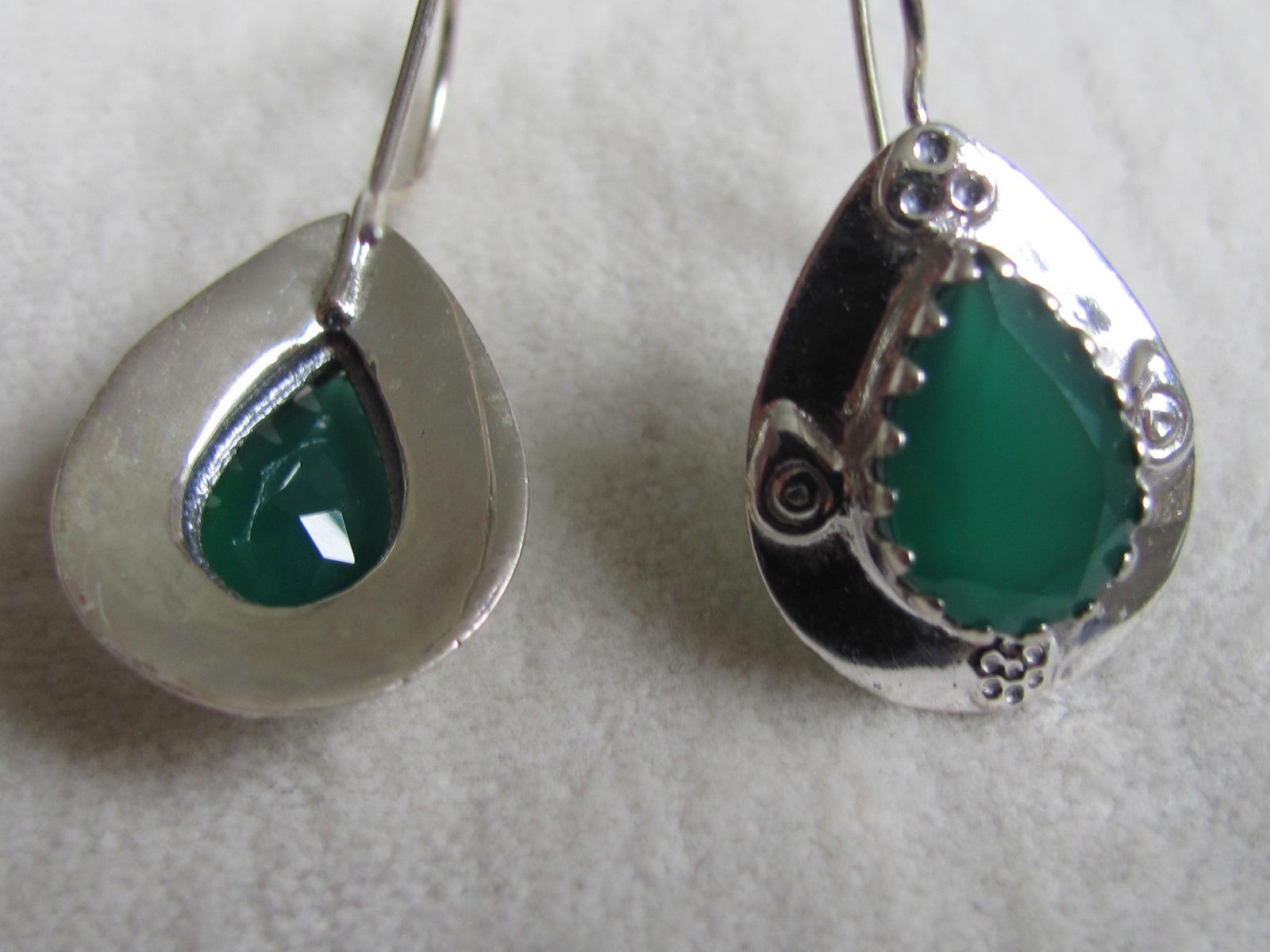 Oorbel dormeuse zilver met groene onyx