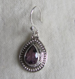 Earring silver and facet cut amethyst