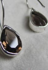 Oorbel zilver  dormeusse  met rookkwarts