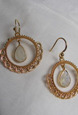 Earring gold on silver silver rainbow moonstone