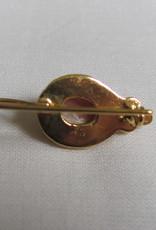 Oorbel goud  op zilver met rhodocrosiet