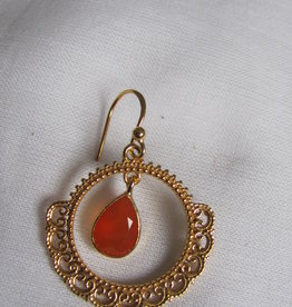 Earring gold on silver with cornelian
