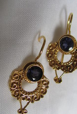 Earring  gold plating on silver with iolite