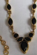 Halsketting, goud op zilver met onyx steentjes