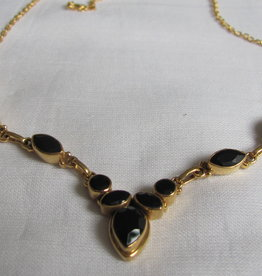 Necklace,  gold on silver with onyx stones