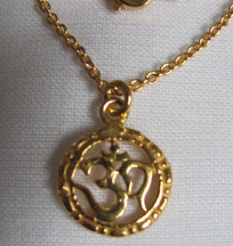 Necklace gold on silver with OHM pendant charm