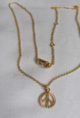 Halsketting  goud op zilver met peace bedeltje