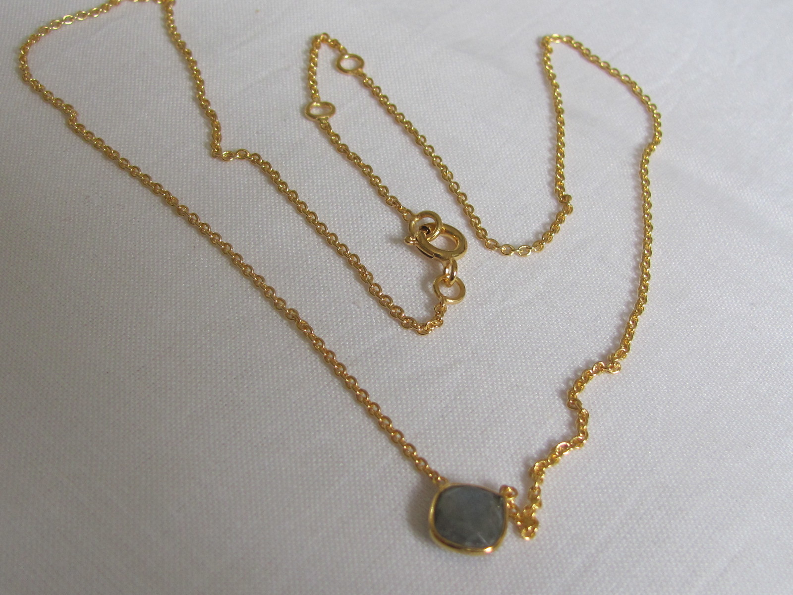 Necklace gold on silver with labradorite