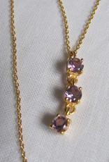 Halsketting goud op zilver met amethist