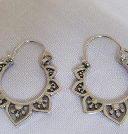 Earring silver bohemian hoops