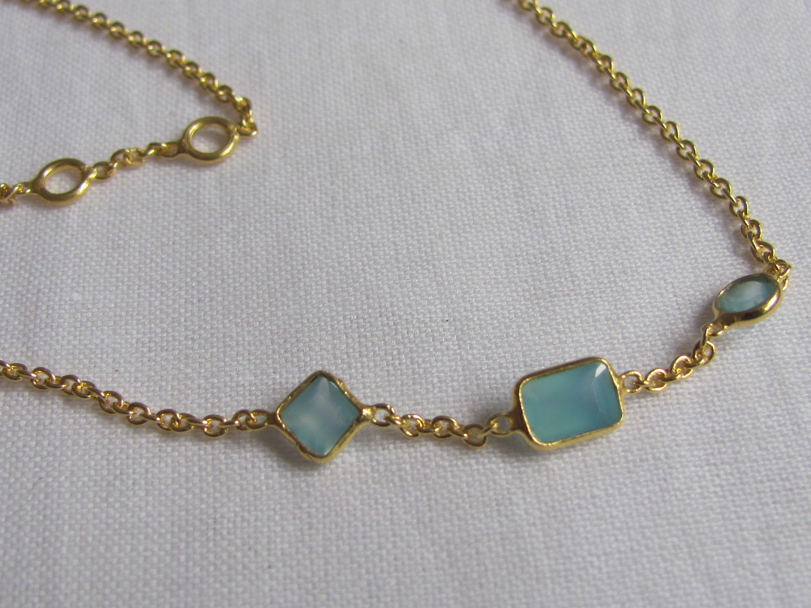 Necklace gold on silver with calceadon stones