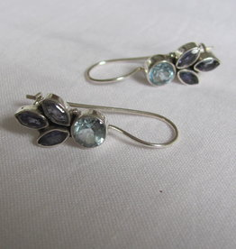 Silver dormeuse earrings with precious stones