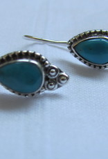 Earring  silver with  turquoise   dormeuse style
