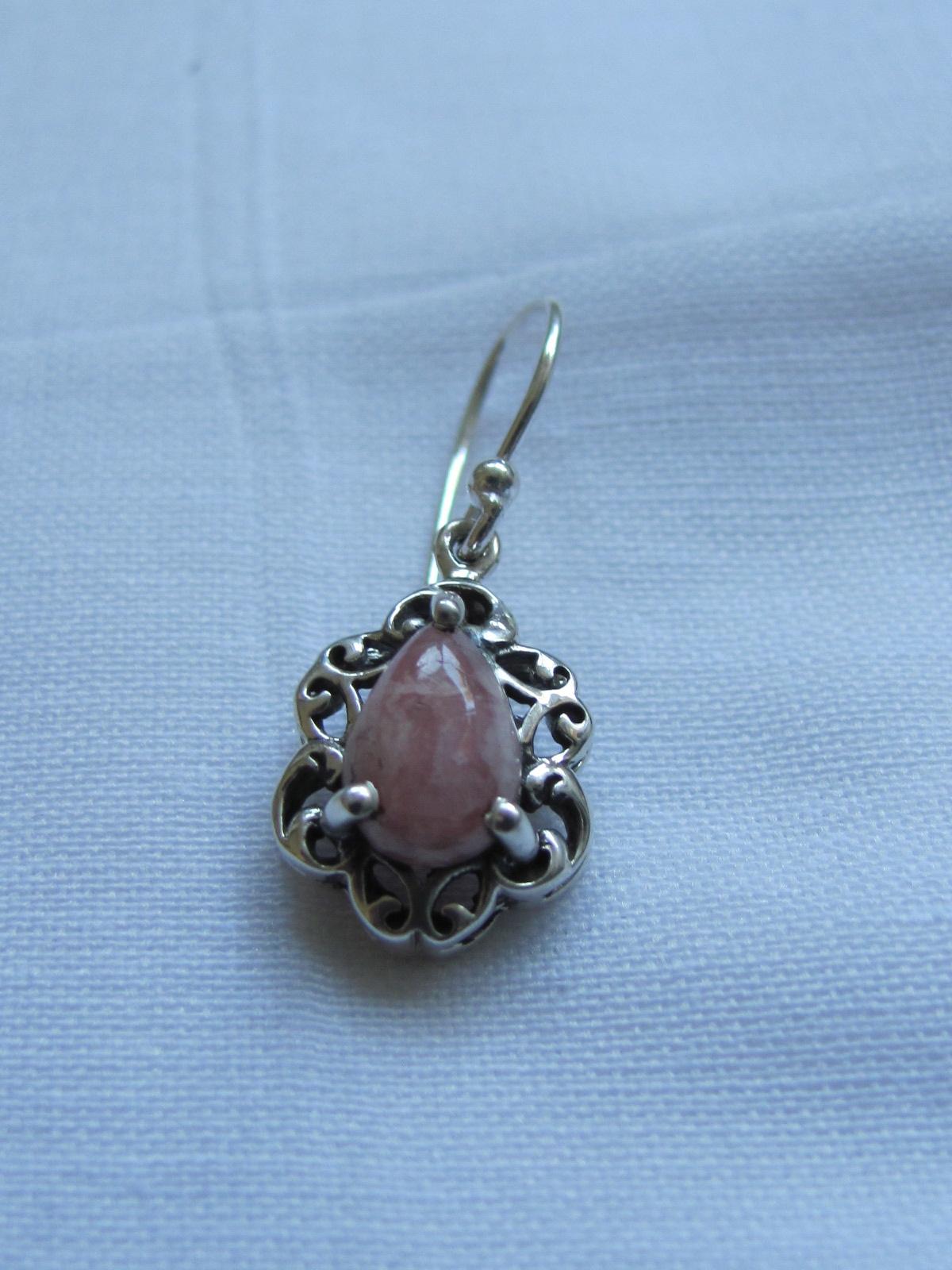 Earring silver rhodochrosite